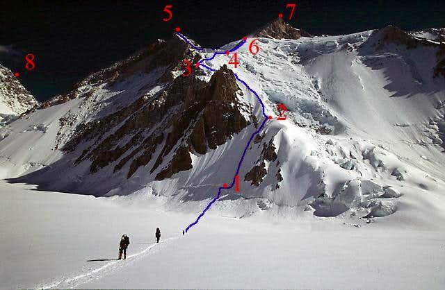 Route on Gasherbrum II and III