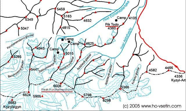 The map of valley of Dzanajdartaka river, July 2005