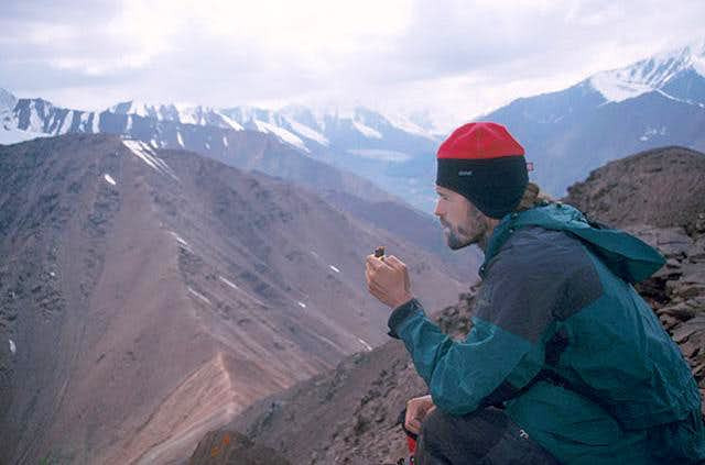 Martin Cadik relaxing at the summit of Pik Todo, July 2005