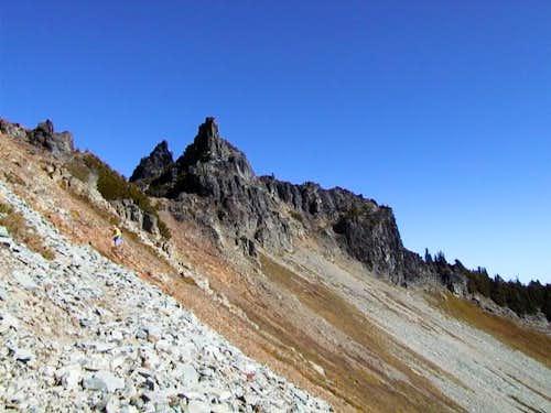 Twin summits of Castle Peak...