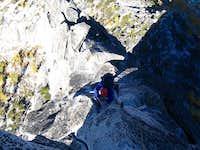 Haydar climbing the second...