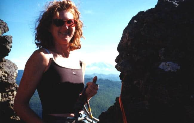 Mary on knife edge ridge...