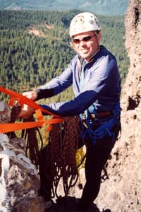 Ty setting up rappel rope at...