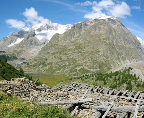 The southern slope of Petit Mont Blanc <i>3424m</i>  from the ruines of L\'Arp Vieille inf. <i>2073m</i>