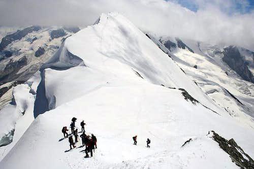 Traversing the summit ridge...