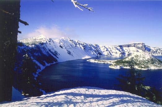 Crater Lake. Llao Rock is the...