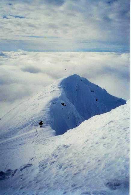 On the summit ridge. Winter...