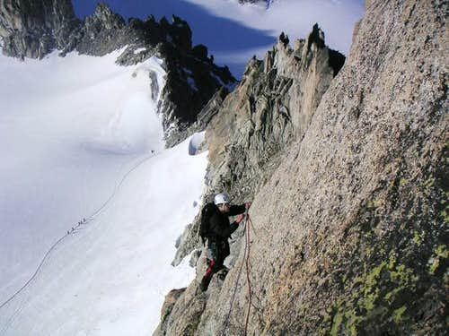 Dicey traverse above the...