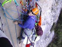 The belay at the top of pitch...