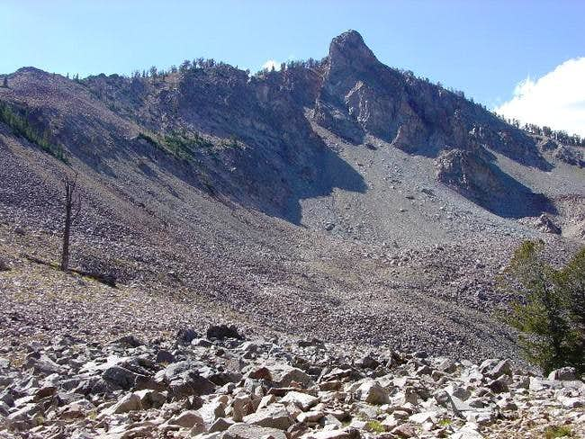 The route up the east ridge...