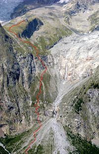 Route to Monzino Hut <br> seen  from the opposite side of Val Veny