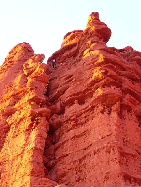 Sandstone at dusk. Route...