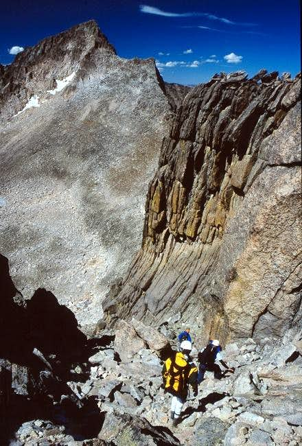 Descending the gully at the...