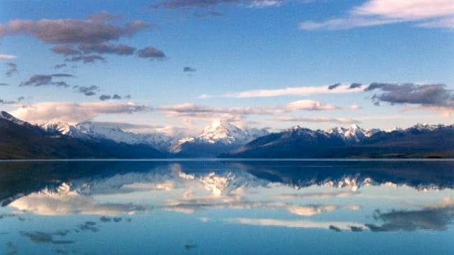 Lake Pukaki, Mt. Cook range...