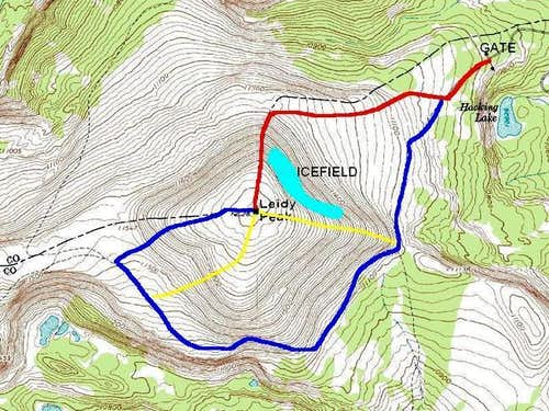 Red = North Ridge Route<br />