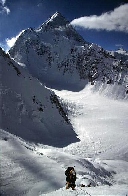 A climber is heading down the...