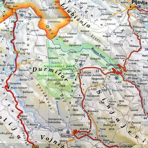 Map of Durmitor National Park...