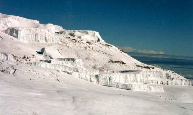 Cascades of ice on the top of...
