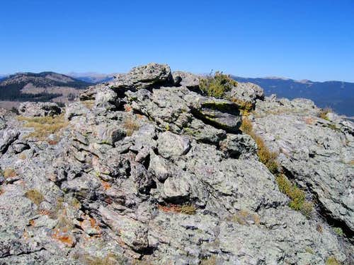The granite summit blocks of...