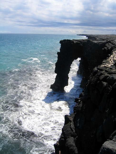 A lava sea arch on the flanks...