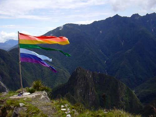 Shredded flag on the summit