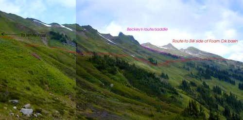 The ridge extending from...