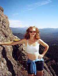 Mary at belay with Mt....