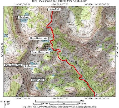Norton Peak\'s standard route...