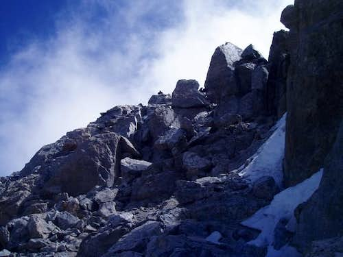 The scramble up to the summit...