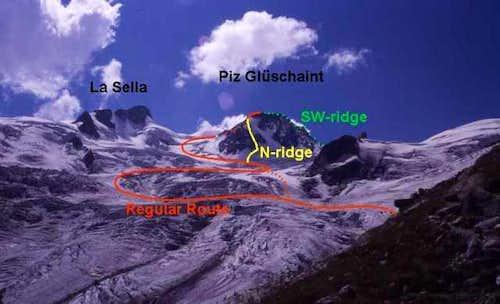 Routes of the Piz Glüschaint...