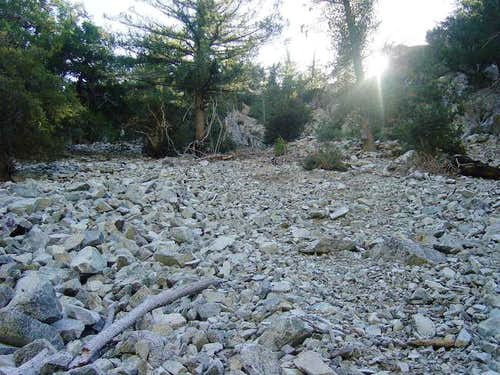 A loose scree slope on the...