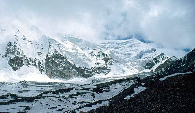 Pik VMF as can be viewed from the right morraine of Nazarova glacier, July 2005