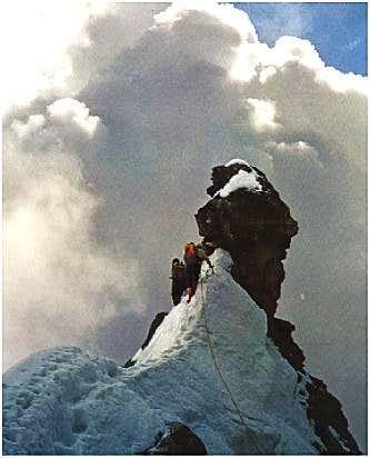 climbing the east ridge of...