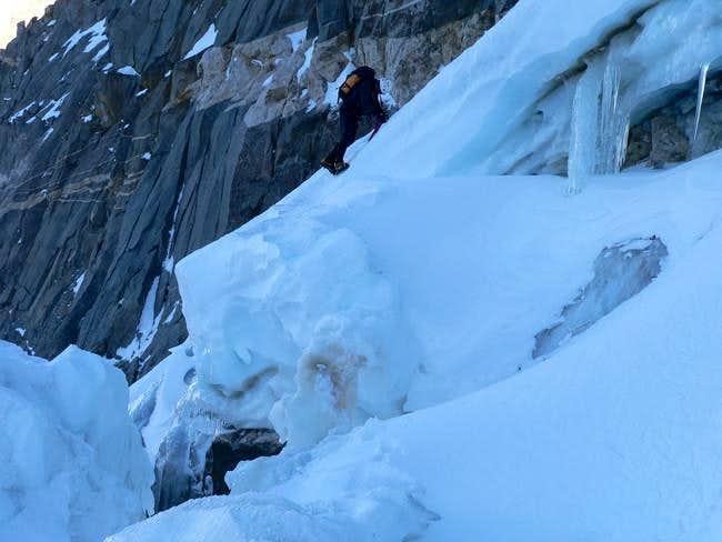 Kris climbing down the...