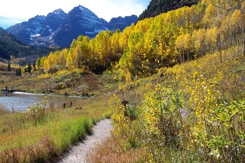 The Maroon Bells above the...