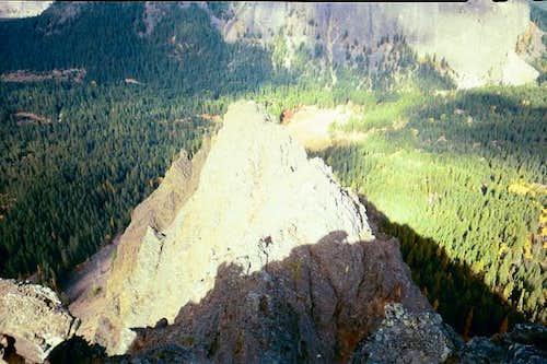 Looking down on Peak 3 from...