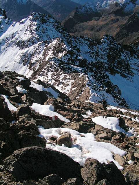 Looking down the short summit...