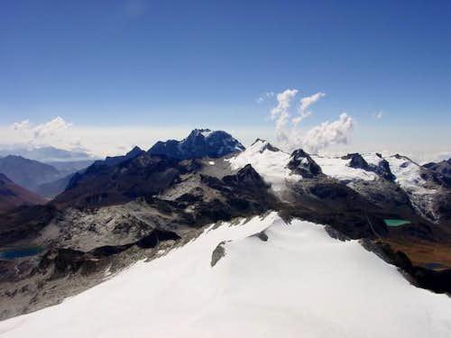 View of Cerro Ilampu (5519m)...