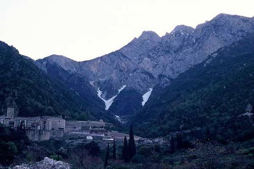 The west side of Athos.Agiou...