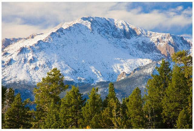 Pikes Peak with fresh snow,...
