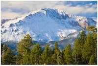 Pikes Peak with fresh snow,...