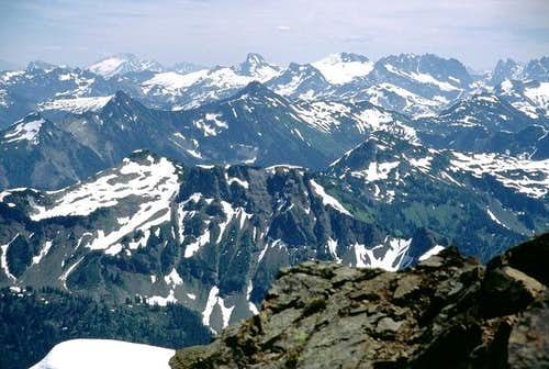 North Cascades peaks from west