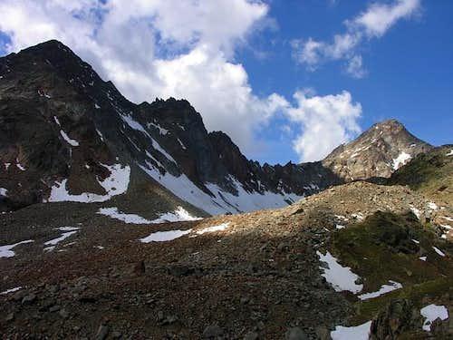 Monte Grauson (3240 m) and punta Garin (3448 m) ...