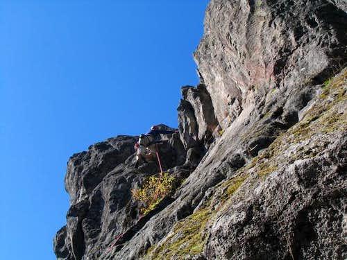 Haydar climbing Rawhide (5.8)...