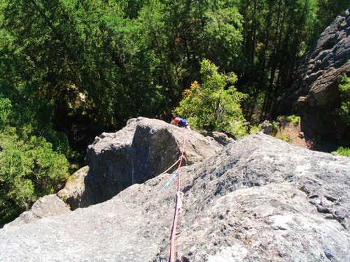 Haydar climbing a route on...