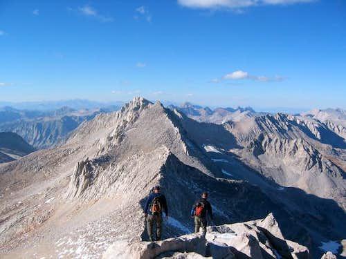 Walking down the summit ridge...
