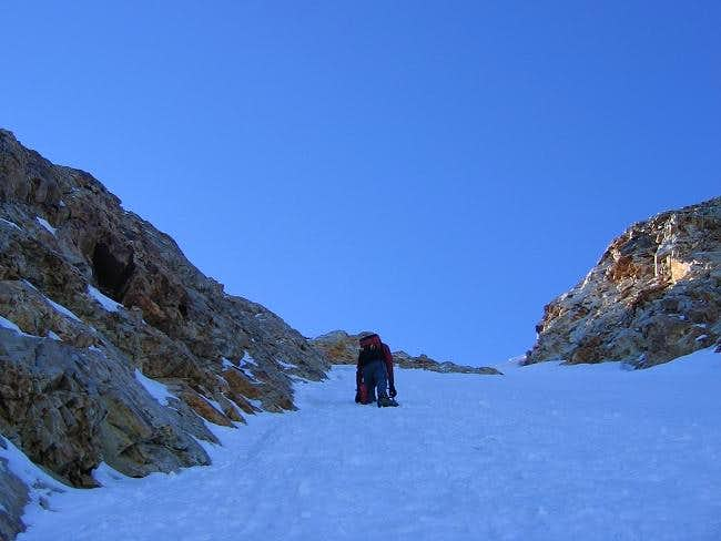 Brian Making His Way Up the Couloir