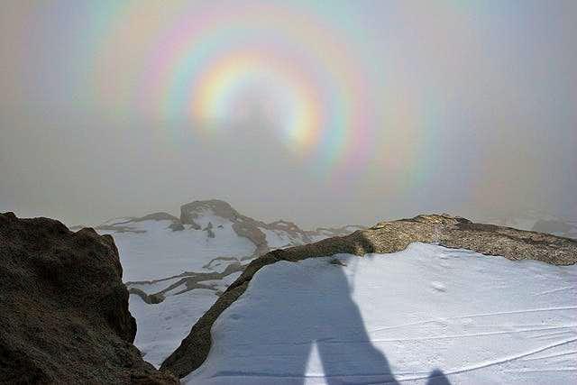 Circular rainbow in a white...