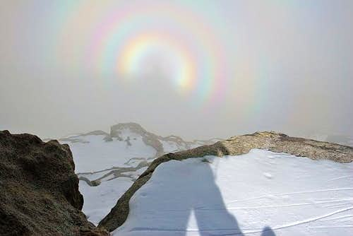 Circular rainbow in a white...