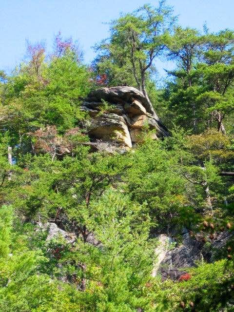 An overhanging rock ledge...